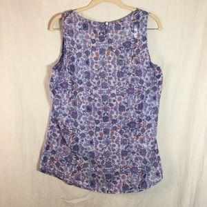 Eddie Bauer Tops - Eddie Bauer Blue Floral Print Cotton Top Size M